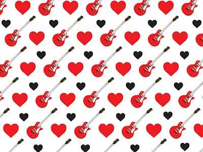 Petty pattern tom petty les paul red black and white black red guitar heart