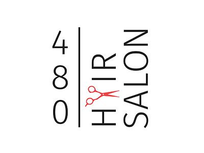 480 Hair Salon scissors red and black 480 hair salon 480 hair salon branding logo