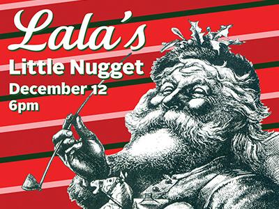 December Creative Mass december pipe santa claus metal cut announcement script vintage