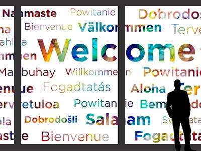 Greeting Wall mock-up sans serif huge large format multicolor installation greeting