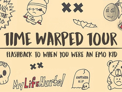 Time Warped Tour highschool illustration emo panic at the disco frank erwin center social media