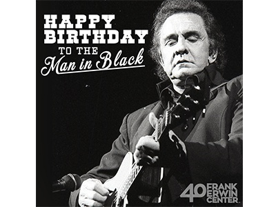 Erwin Center - Johnny Cash Birthday birthday johnny cash bw black and white frank erwin center social media