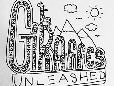 Giraffes Unleashed hand type unleashed mountains black and white bw illustration giraffe