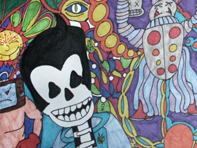 Prom skeleton sun tv robot pot prom throwback coloring illustration