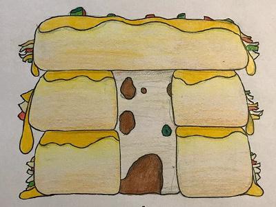 Enchilada Cabin cheese for fun pencil color pencil illustration enchilada cabin cabin enchilada