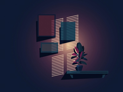 By night floral sunset night graphic illustration