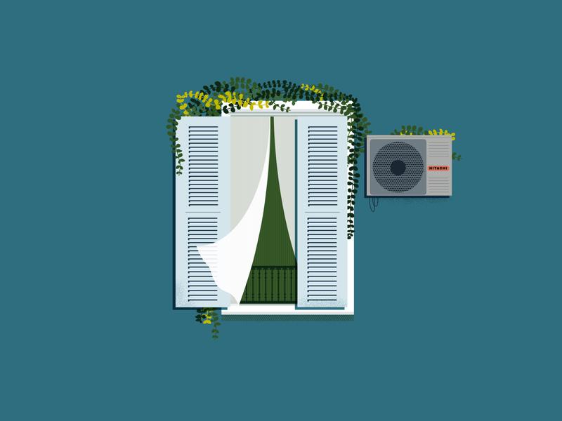 Window - Persienne // 06 french riviera window nice print illustration