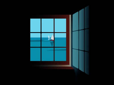 Window graphic color sea nice french riviera print illustration