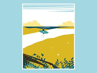 Surf beach france surf graphic design color print illustration