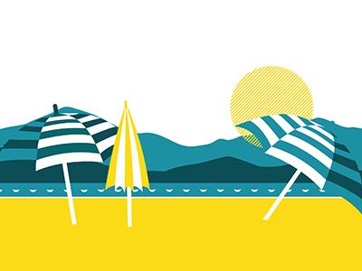 French Riviera beach yellow sun design color illustration riviera french