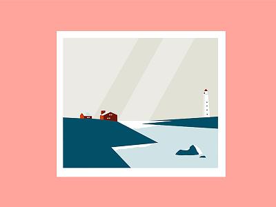 Pied-de-vent landscape sea print color illustration