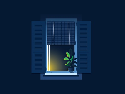 Window - Persienne // 03 city old city night french riviera color print design illustration window