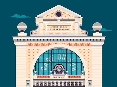 Gare Du Sud print nice mediterranean train station illustration building city french riviera