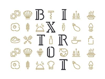 Bixtrot Icon lounge italy monoline restaurant food icon bistrot