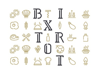 Bixtrot Icon lounge italy monoline restaurant food icon bistrot