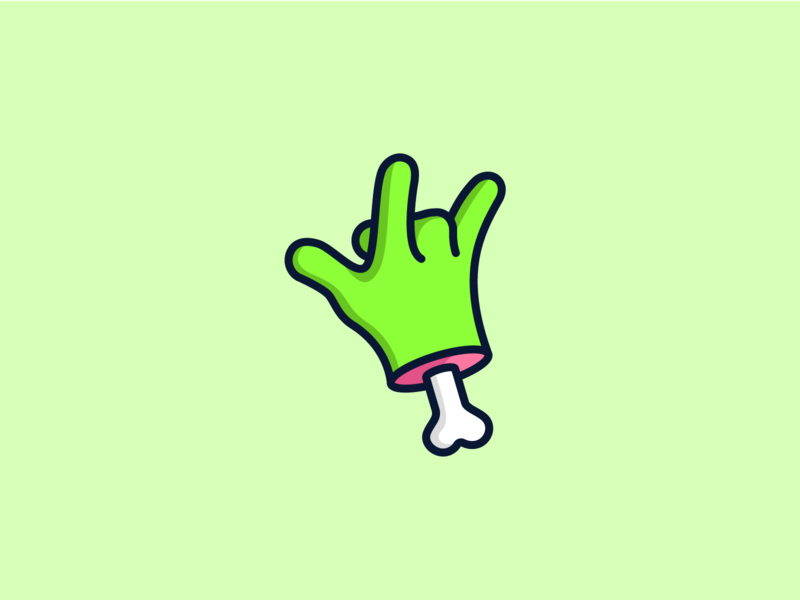 Zombone geometry pixel iphone ux ui bone zombie hand halloween character design illustration