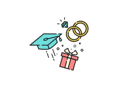 Special event happy special event birthday gift wedding graduation iconography icon logo illustration iphone ui app ui  ux