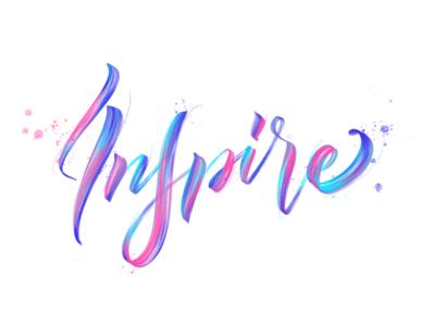 Inspire procreate ipad branding graphic logo type icon typography handmade illustration calligraphy brush lettering design