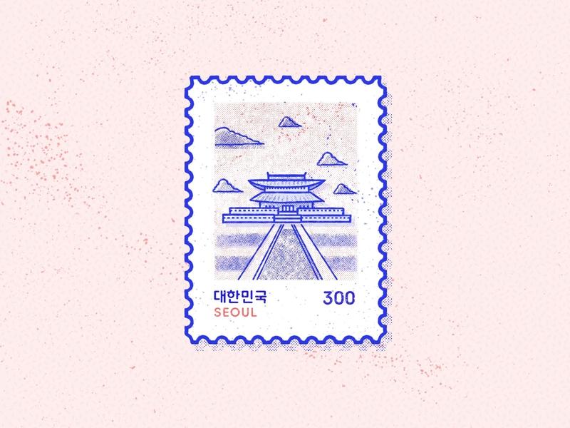 Seoul Stamp handmade design brush typography branding illustration city town landscape travel destination gyeonbokgung korea south