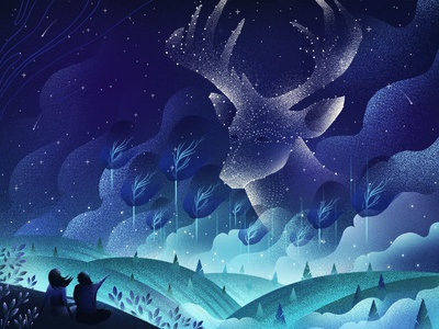Surreal Night texture flat inspiration design illustration