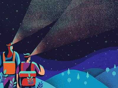 Night Hiking night adventure people poster trek travel inspiration design illustration