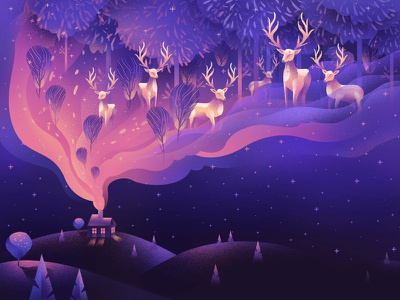 The deer forest travel surreal mystical magic night animal deer outdoor texture mountains illustration inspiration design
