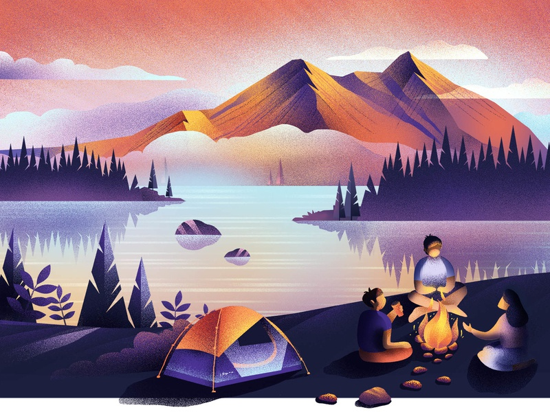 Bonfire night adventure night camping website people outdoor mountains inspiration travel illustration design
