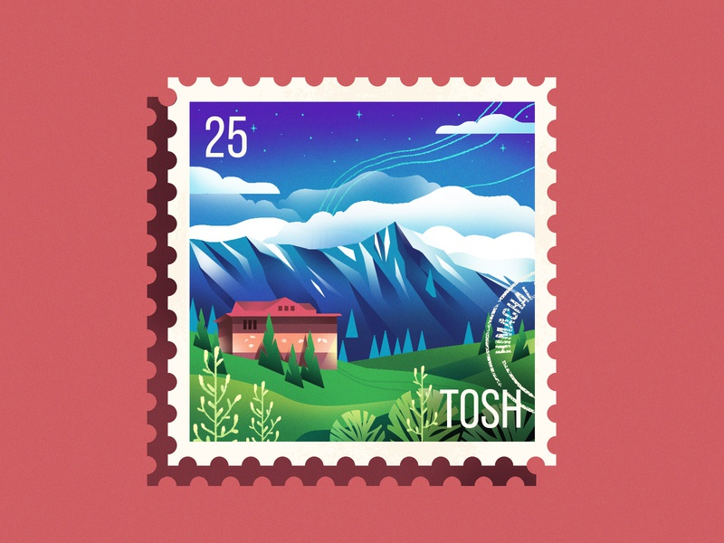 Himachal Stamp nature himachal stamp design stamp texture mountains travel illustration design