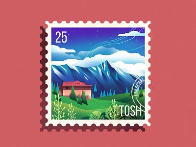 Himachal Stamp nature himachal stamp design stamp texture mountains travel illustration design
