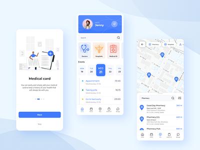 Healthcare Mobile Design aplication calendar dashboad mainscreen onboarding map app medical hospital healthcare health doctor