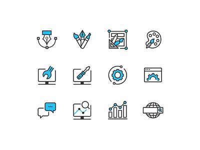 Corporate set icons analytics message support development design seo icon icon set