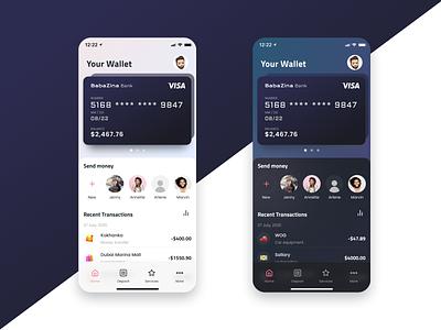 Mobile Banking concept aplication Dark-Light Mode online light dark banking mobile app aplication ux ui design