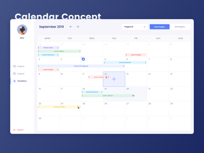 Concept Calendar Management application dashboard vacations management calendar ux ui design