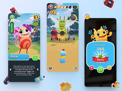 Kids Collectible Game Application Interface tree world kids garbage mobile gui game aplication ux ui design