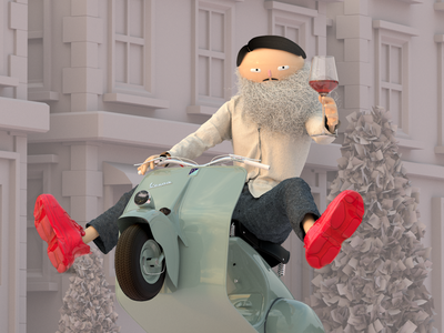 ride 3d art cloth character beard illustration c4d 3d character wine scooter