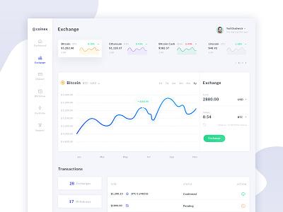 Coinex - Cryptocurrency Exchange Dashboard creatus illustration wordpress digital agency bitcoin exchange bitcoin cryptocurrency app cryptocurrency