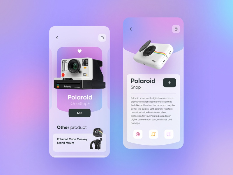 Polaroid concept typography design concept polaroid photo app web ux ui