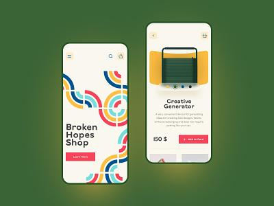 Broken Hopes Shop Concept concept branding logo typography website design ux ui