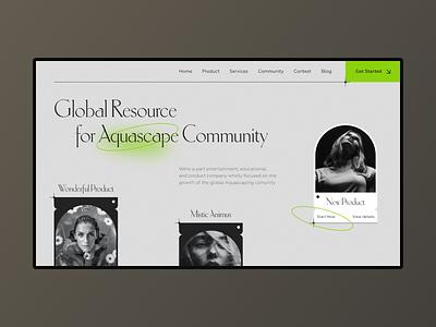 Aquascape website concept branding minimal typography website design web ux ui