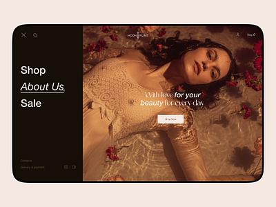 MOON RUNE Aesthetic cosmetics typography design website product interface web ux ui