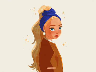 The girl with the pearl earring by Johannes Vermeer character character design flat flat illustration illustration portrait