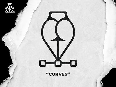 Curves butt vector pen ass booty logo mark