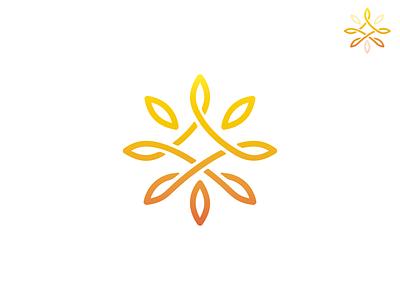 Yoga Studio warm colors sun mandala meditation yoga logo design graphic design logotype brand logo