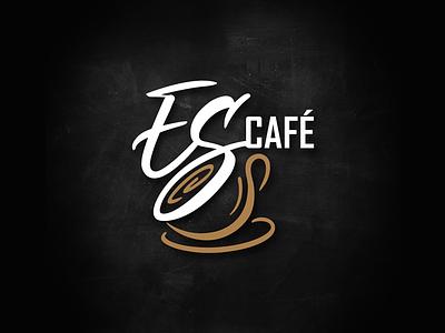 EScafé mug cup café cafe coffee logo design icon mark calligraphy typography graphic design logotype brand logo