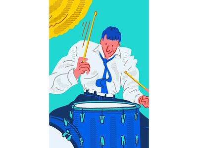 Jazz 3 character people vector jazz illustrator cartoon comic drummer drums music pastel minimal procreate ipad illustration