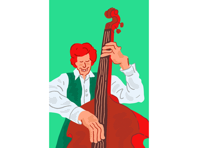 Jazz 4 procreate duotone ginger irish pastel minimal comic cartoon character illustration illustrator musician music double bass jazz drawing sketch vector people ipad