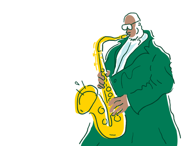 Jazz 2 Alt character quirky ipad drawing sketch lines procreate weird minimal illustrator illustration vector cartoon comic green festival musician music saxophone jazz