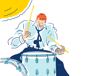 Jazz 3 Alt drawing sketch quirky weird lines vector comic cartoon character cartoon musician jazz music drummer drums bright pastel minimal illustrator procreate ipad