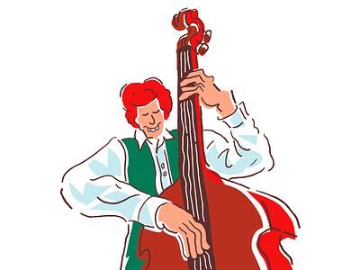 Jazz 4 Alt ipad ginger redhead irishi musician double bass quirky lines jazz vector procreate music minimal comic weird cartoon character illustration illustrator simple