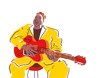 Jazz 5 Alt bright pastel drawing sketch funk soul musician ipad procreate illustrator music minimal comic weird cartoon character illustration guitarist guitar jazz